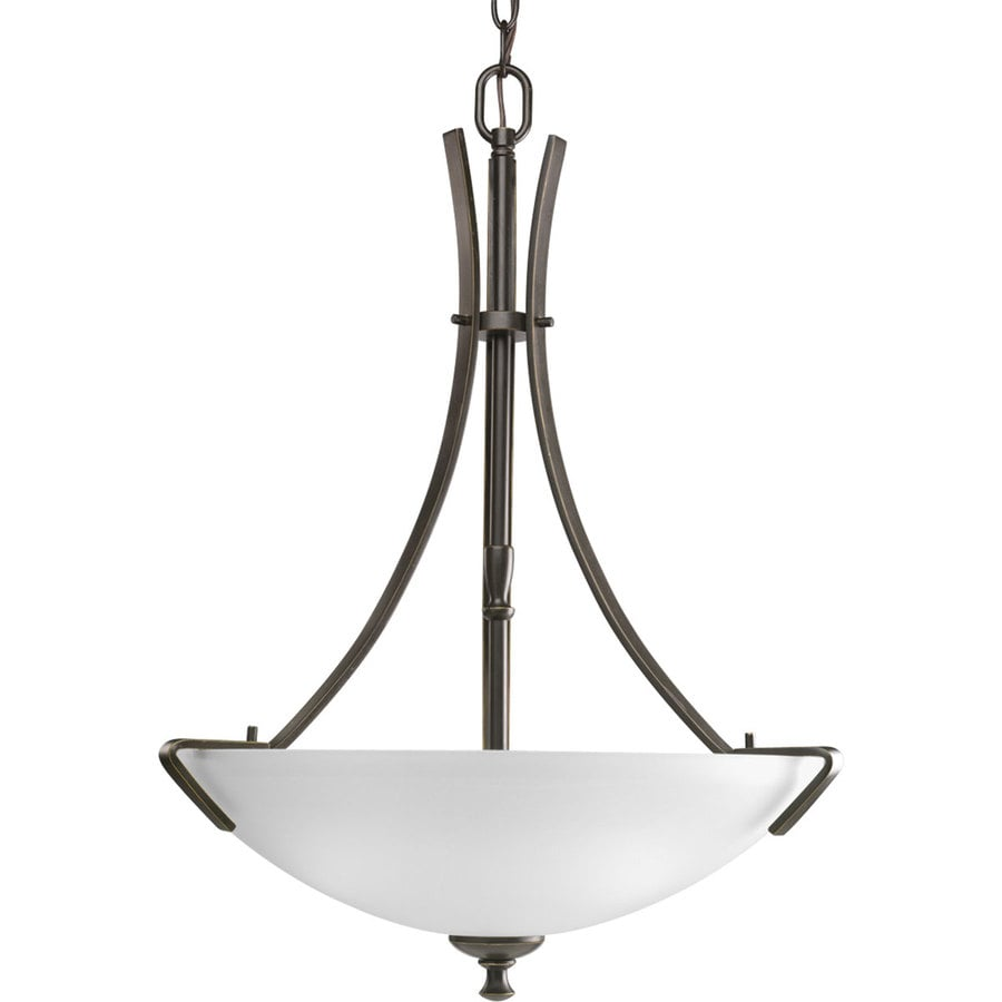 Progress Lighting Wisten 18.125-in 3-Light Antique Bronze Etched Glass Shaded Chandelier