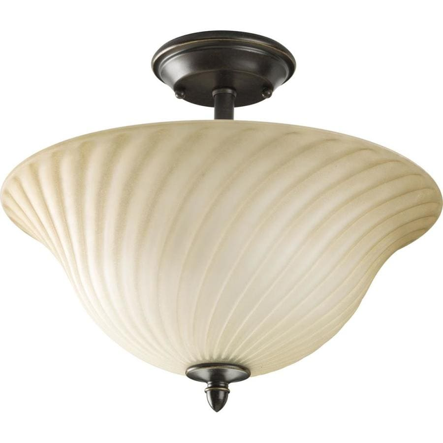 Progress Lighting Kensington 14-in W Forged Bronze Tea-Stained Glass Semi-Flush Mount Light