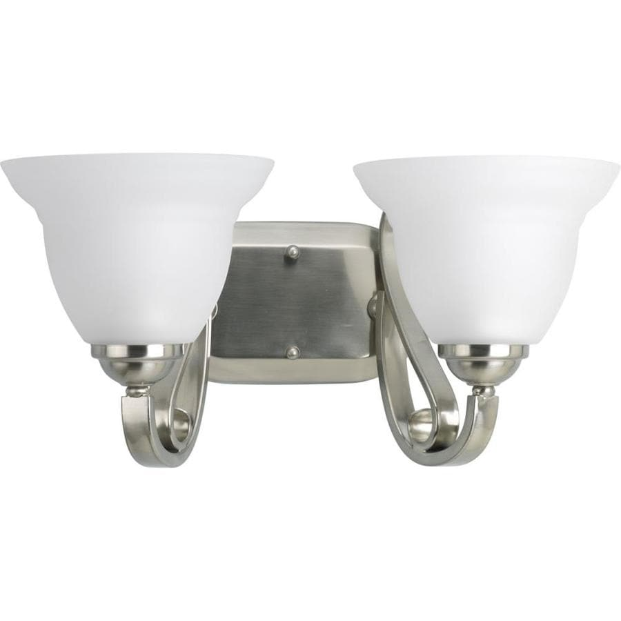 Progress Lighting Torino 2-Light 7.625-in Brushed Nickel Bell Vanity Light