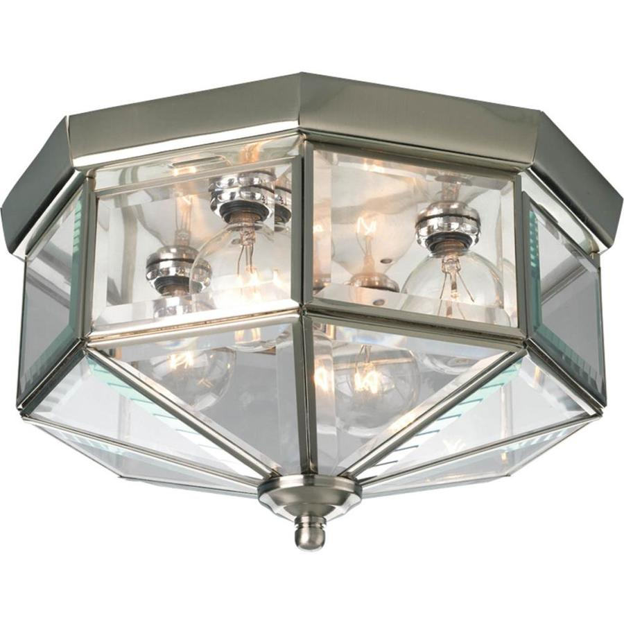 Progress lighting beveled glass 11 125 in w brushed nickel standard
