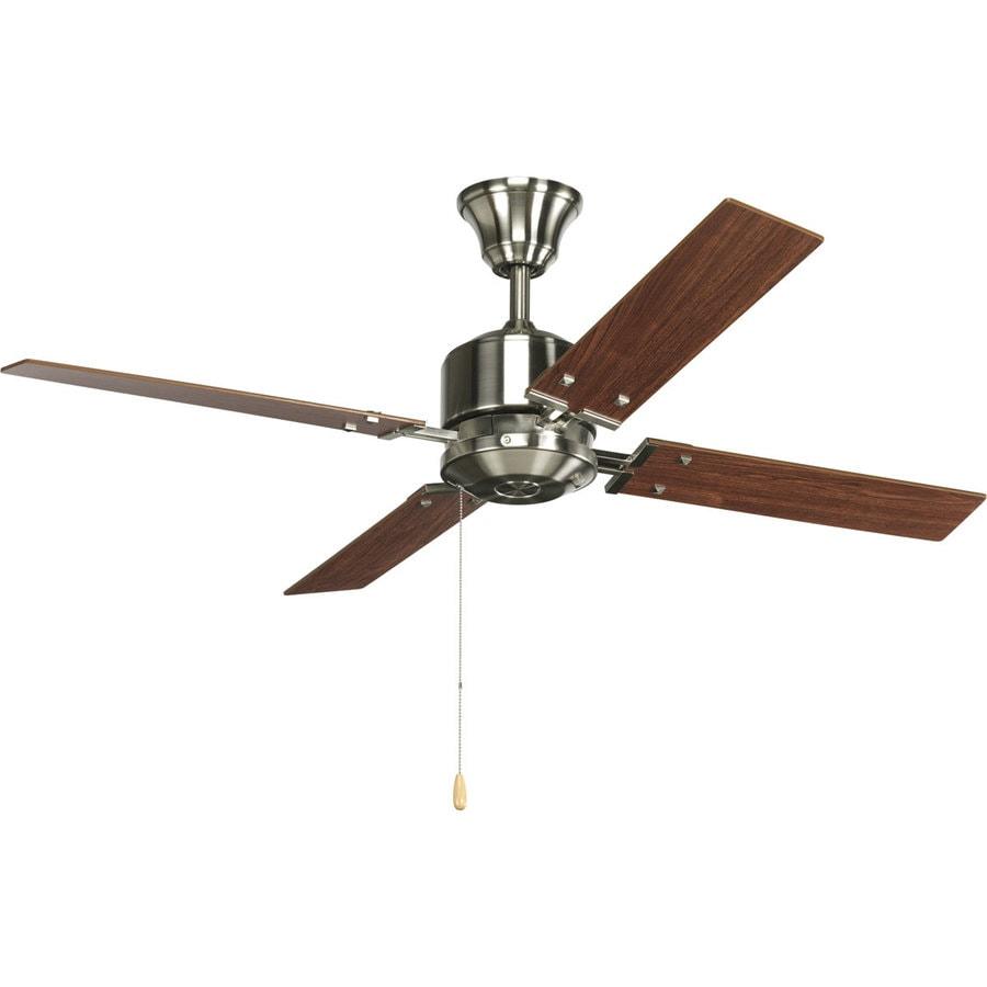 Progress Lighting North Park 52-in Brushed nickel Indoor Downrod Or Close Mount Ceiling Fan (4-Blade) ENERGY STAR