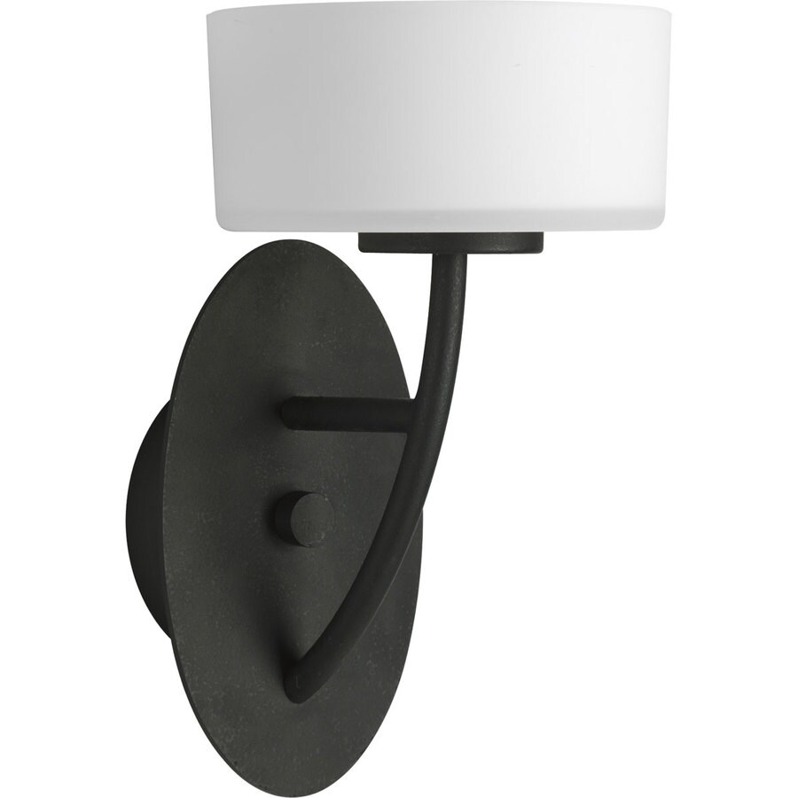 Progress Lighting Calven 6.37-in W 1-Light Forged Black Arm Wall Sconce