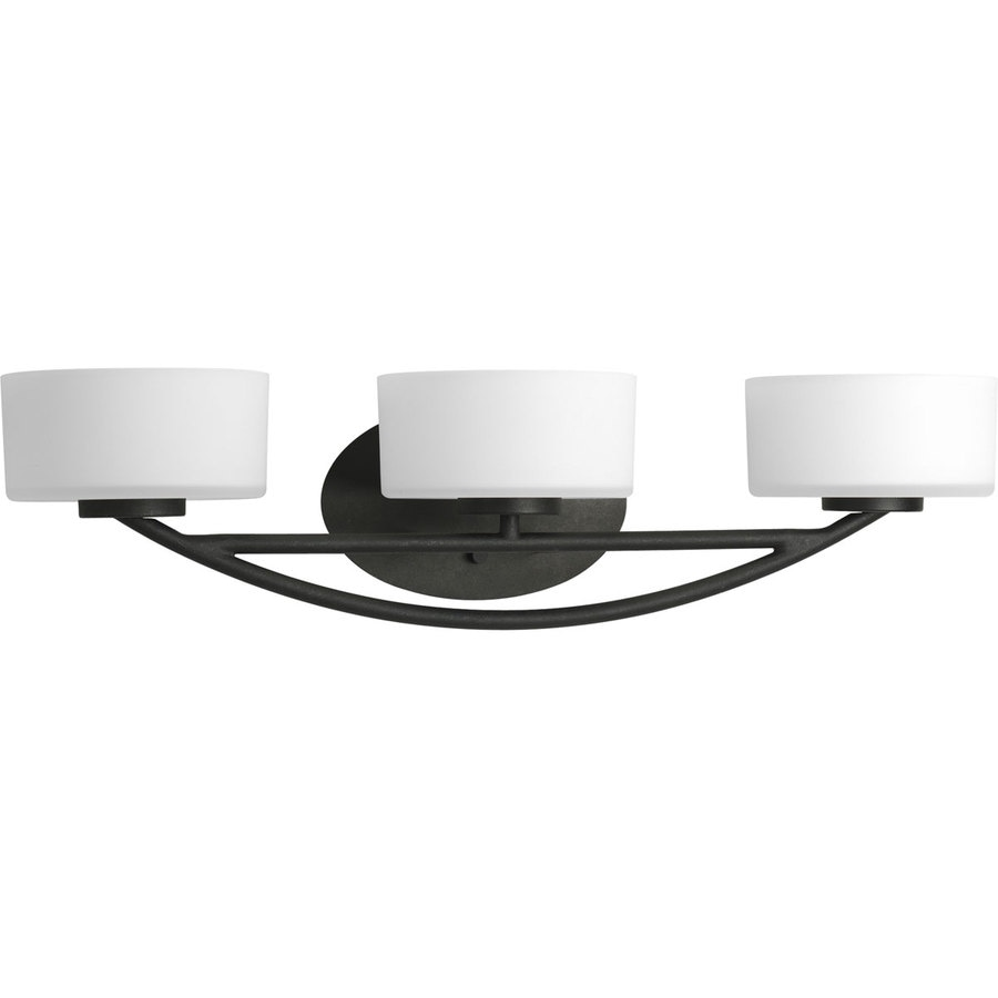 Progress Lighting Calven 3-Light 6-in Forged Black Drum Vanity Light