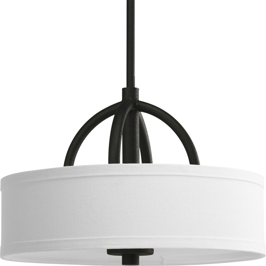 Progress Lighting Calven 15-in W Forged Black Fabric Semi-Flush Mount Light