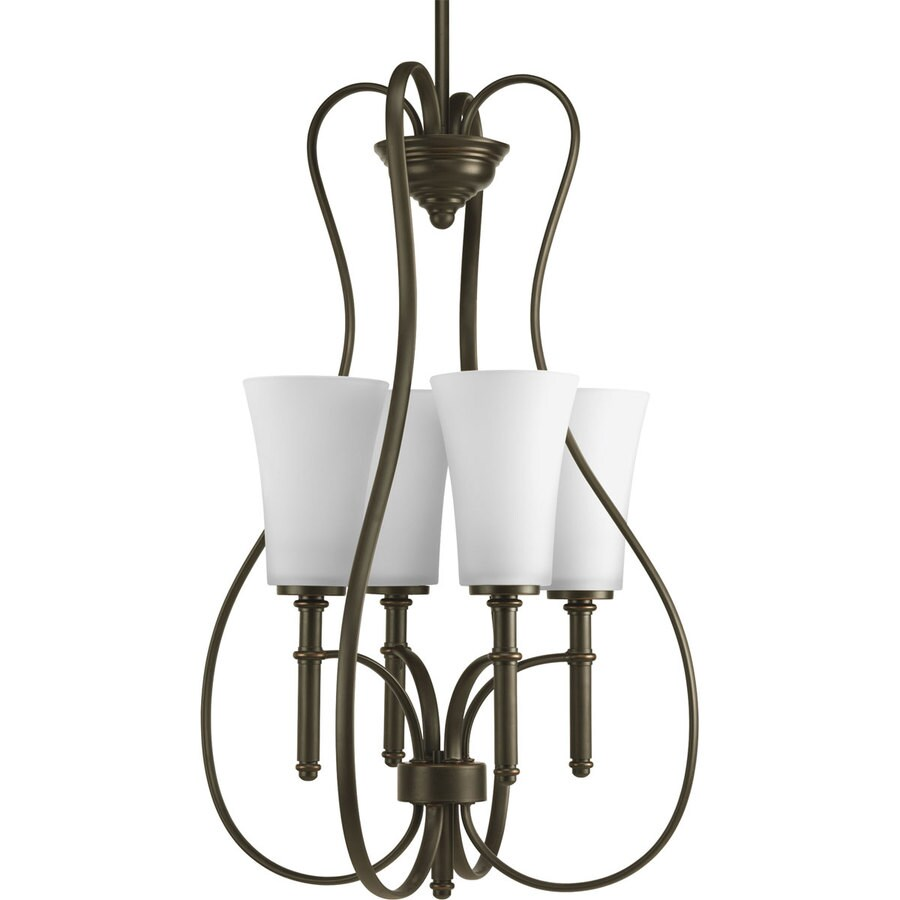 Progress Lighting Flirt 17.375-in 4-Light Antique Bronze Shaded Chandelier
