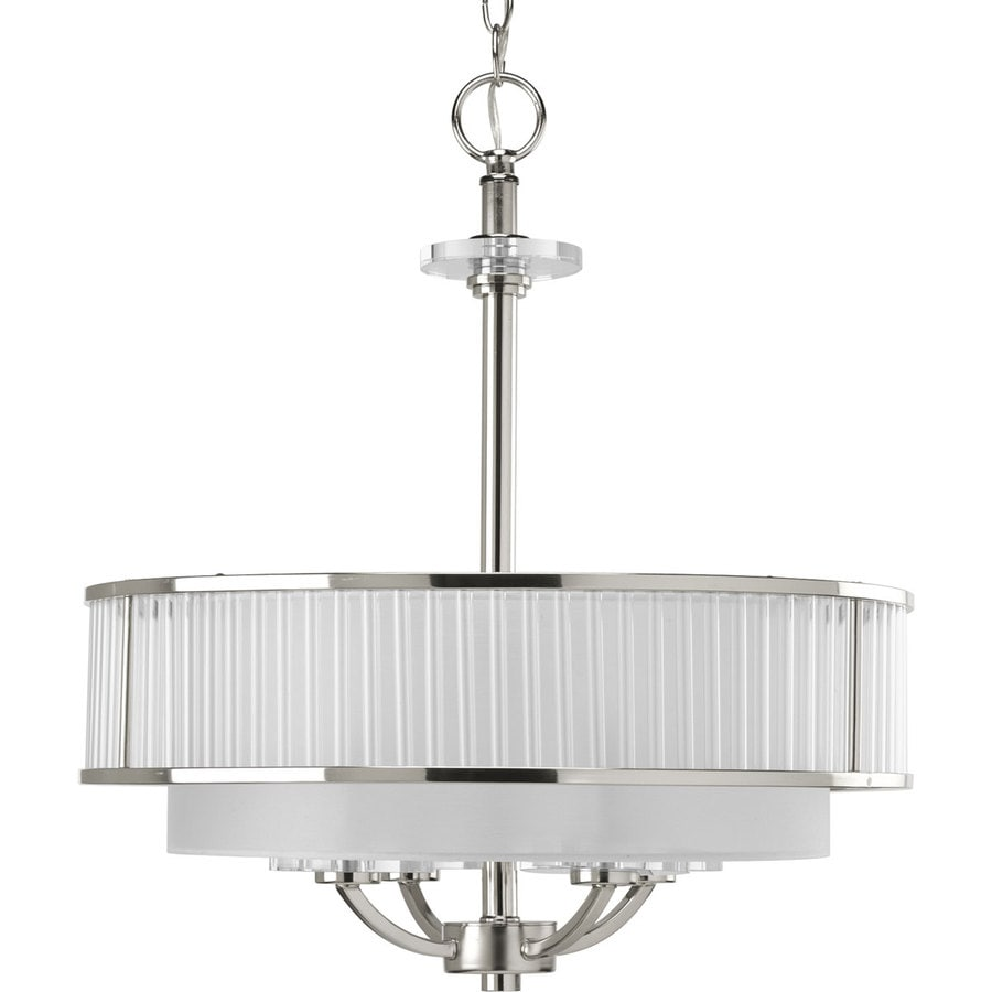 Progress Lighting Nisse 20-in W Polished nickel Fabric Semi-Flush Mount Light
