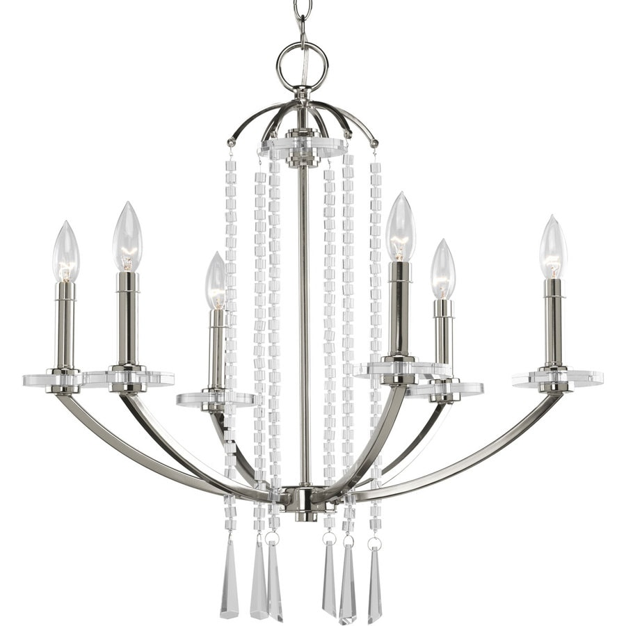 Progress Lighting Nisse 26-in 6-Light Polished Nickel Shaded Chandelier