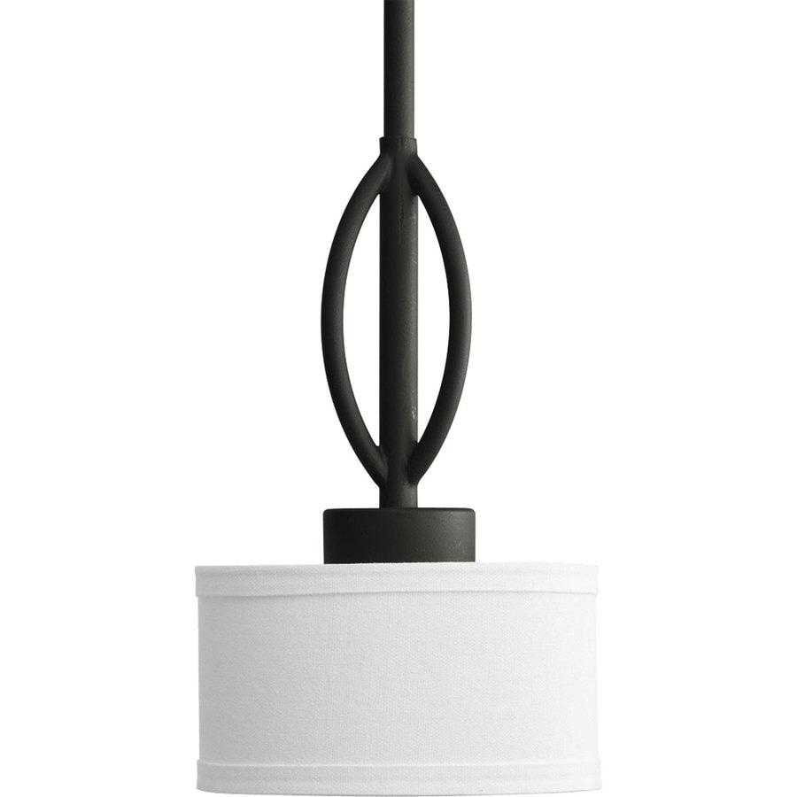 Progress Lighting Calven 6.375-in Forged Black Mini Tinted Glass Drum Pendant
