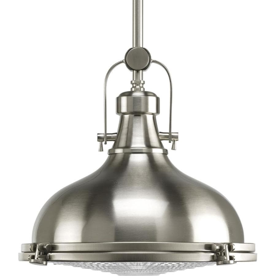 lighting fresnel brushed nickel single dome pendant at lowes