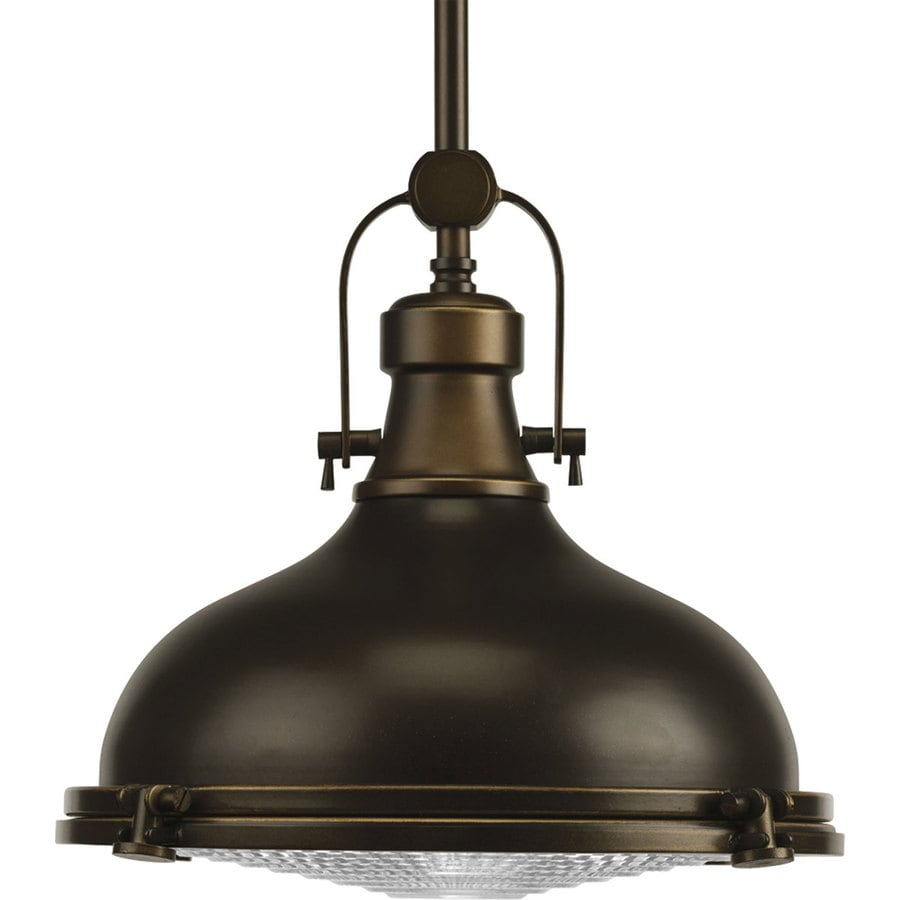 Progress Lighting Fresnel 12.12-in Oil Rubbed Bronze Single Dome Pendant