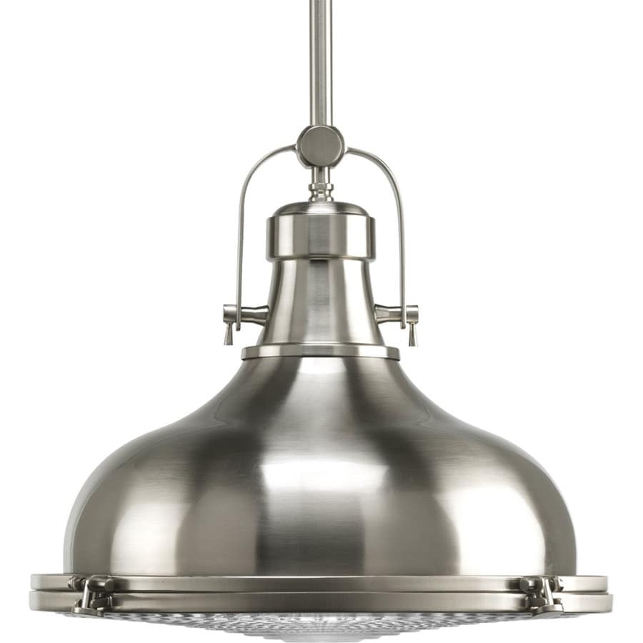 Shop progress lighting fresnel 16 in brushed nickel single dome pendant at - Industrial lighting fixtures for kitchen ...