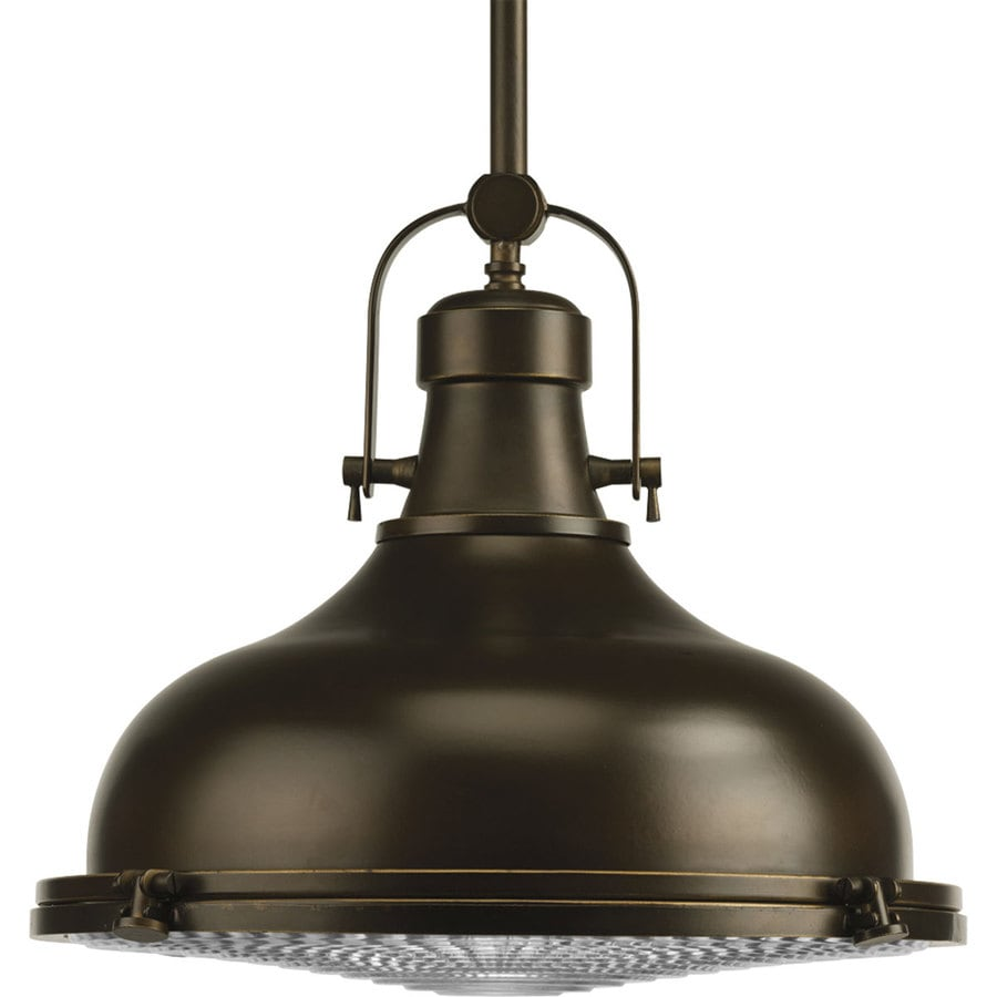 Progress Lighting Fresnel 16-in Oil Rubbed Bronze Single Dome Pendant