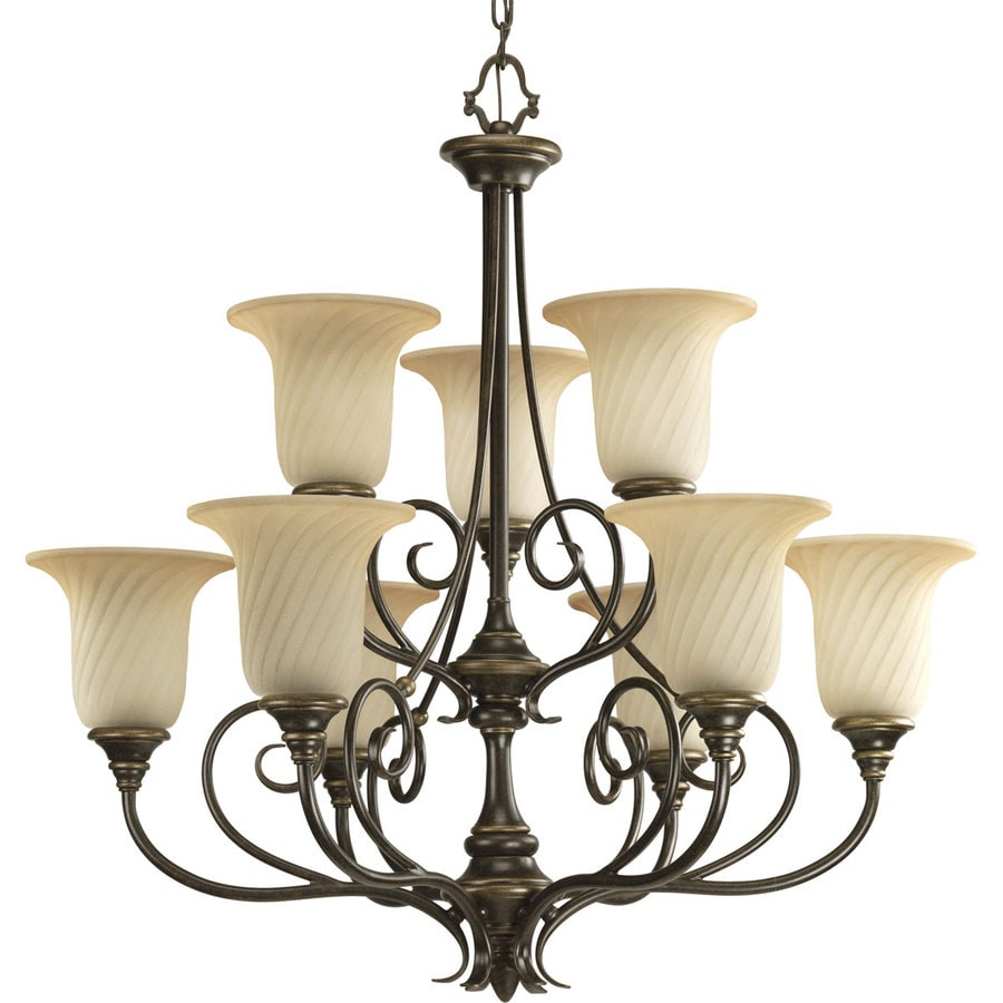 Progress Lighting Kensington 31.5-in 9-Light Forged Bronze Tinted Glass Tiered Chandelier