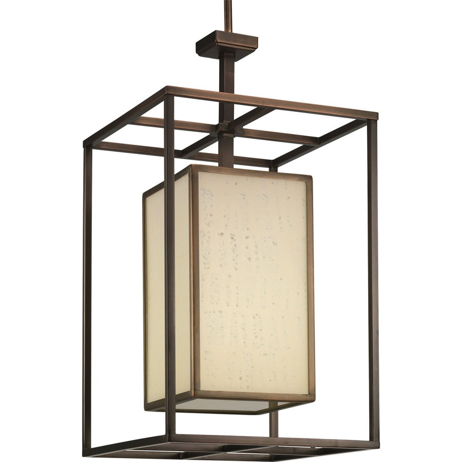Progress Lighting Haven 14-in 1-Light Copper Bronze Textured Glass Cage Chandelier