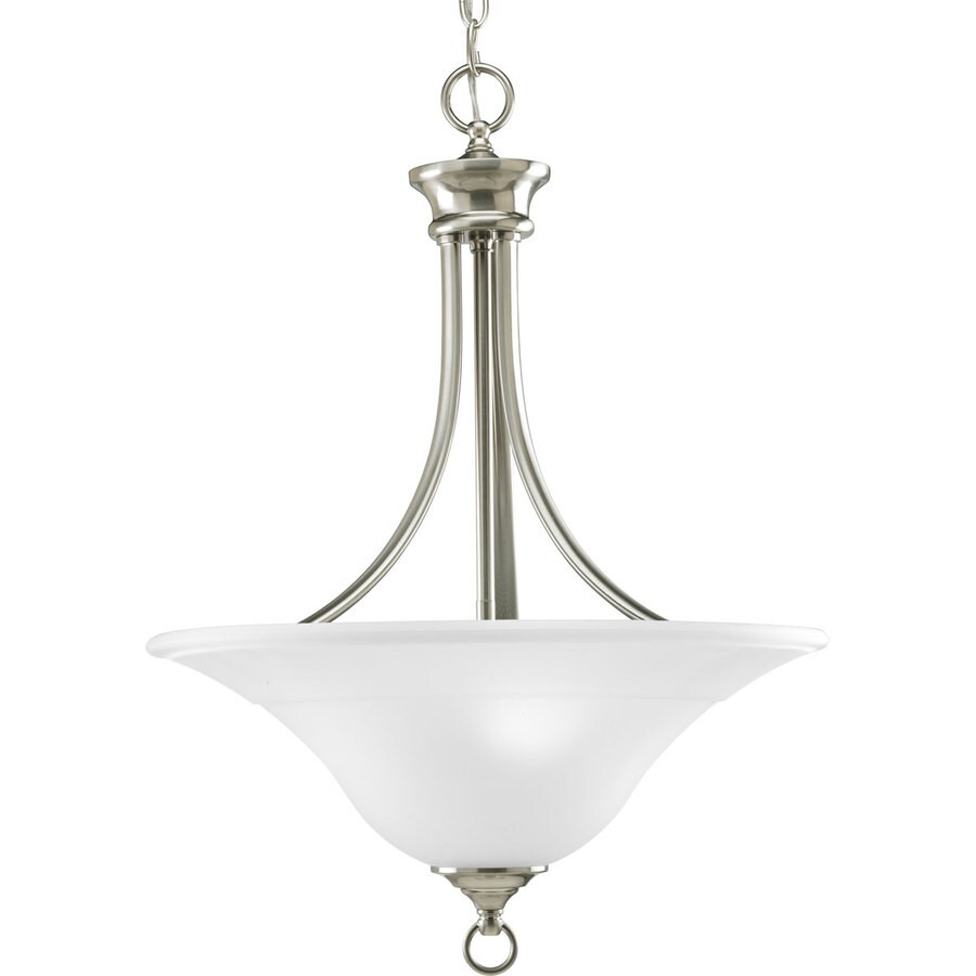 Progress Lighting Trinity 18-in 3-Light Brushed Nickel Etched Glass Shaded Chandelier