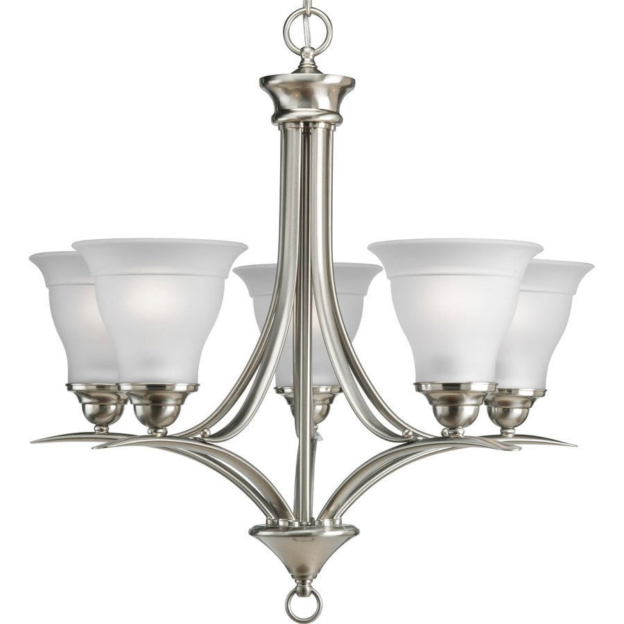 Progress Lighting Trinity 23-in 5-Light Brushed Nickel Etched Glass Shaded Chandelier