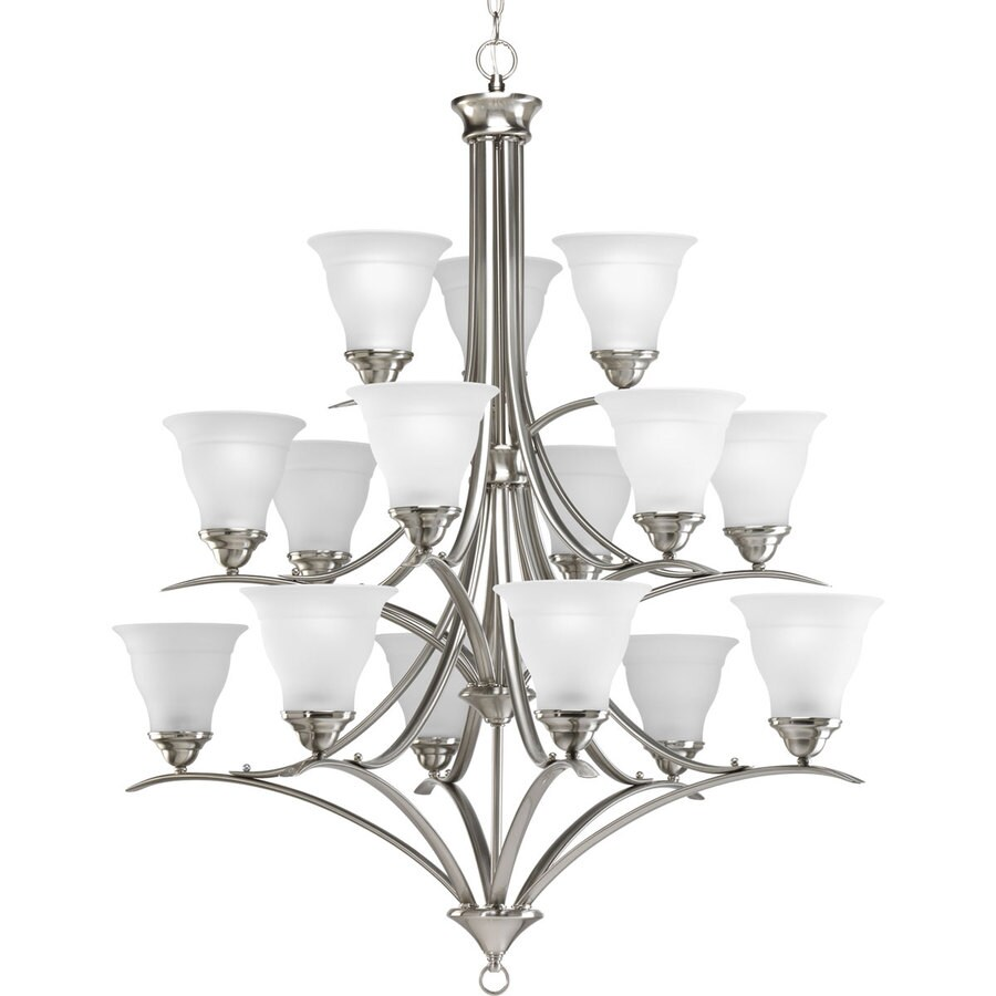 Progress Lighting Trinity 43.75-in 15-Light Brushed Nickel Etched Glass Tiered Chandelier