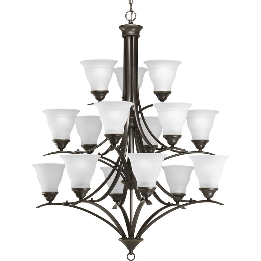 Progress Lighting Trinity 43.75-in 15-Light Antique Bronze Etched Glass Tiered Chandelier