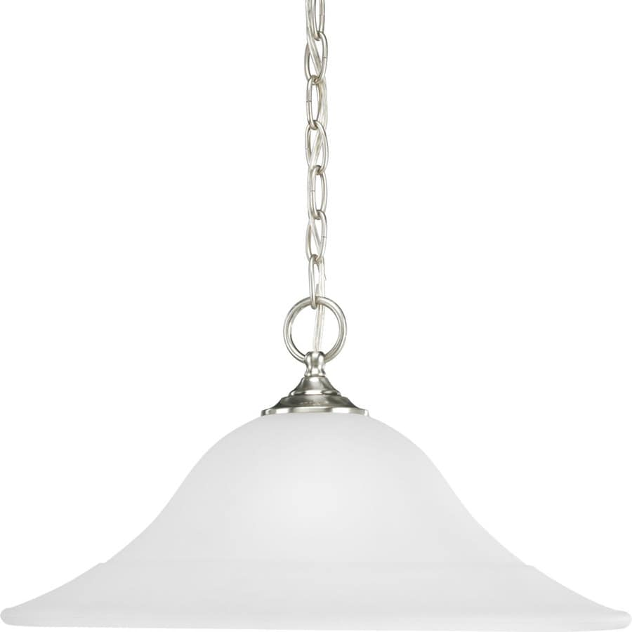 Progress Lighting Trinity 18-in Brushed Nickel Mini Etched Glass Bell Pendant