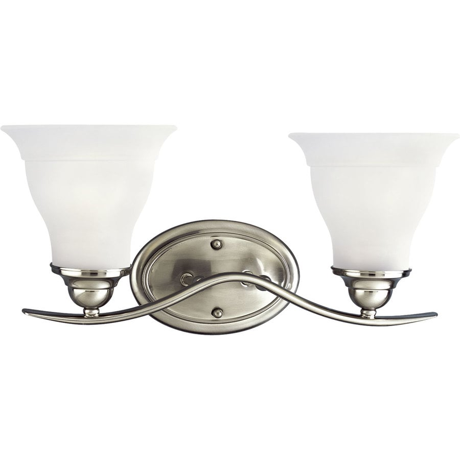 Progress Lighting Trinity 2-Light 8.125-in Brushed nickel Bell Vanity Light ENERGY STAR