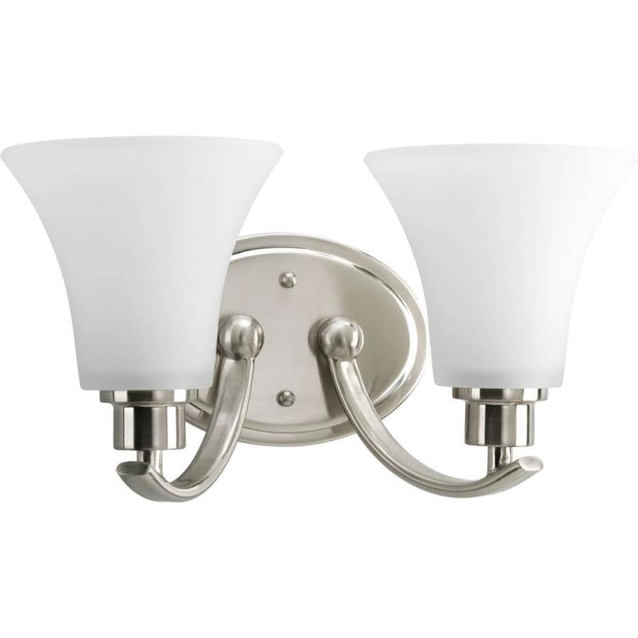 2 Light Vanity Light Brushed Nickel : Shop Progress Lighting Joy 2-Light 7.625-in Brushed Nickel Bell Vanity Light at Lowes.com