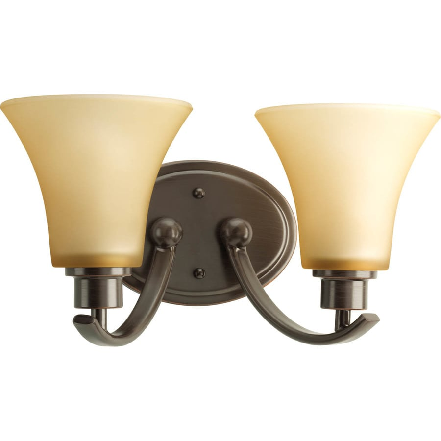 Progress Lighting Joy 2-Light 7.625-in Antique bronze Bell Vanity Light