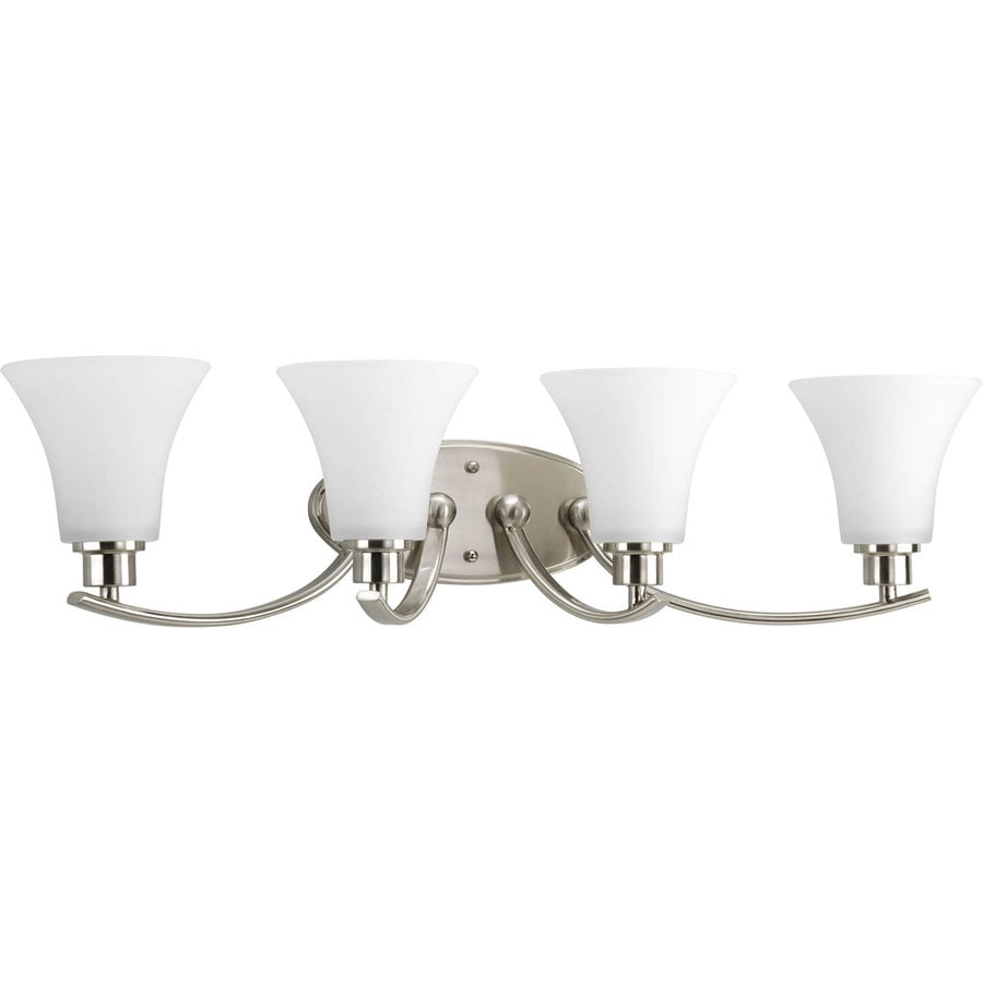 Progress Lighting Joy 4-Light 7.625-in Brushed Nickel Bell Vanity Light