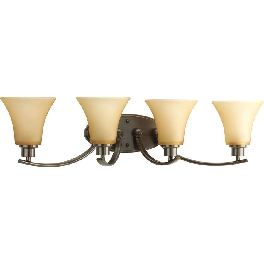 Progress Lighting Joy 4-Light 7.625-in Antique Bronze Bell Vanity Light
