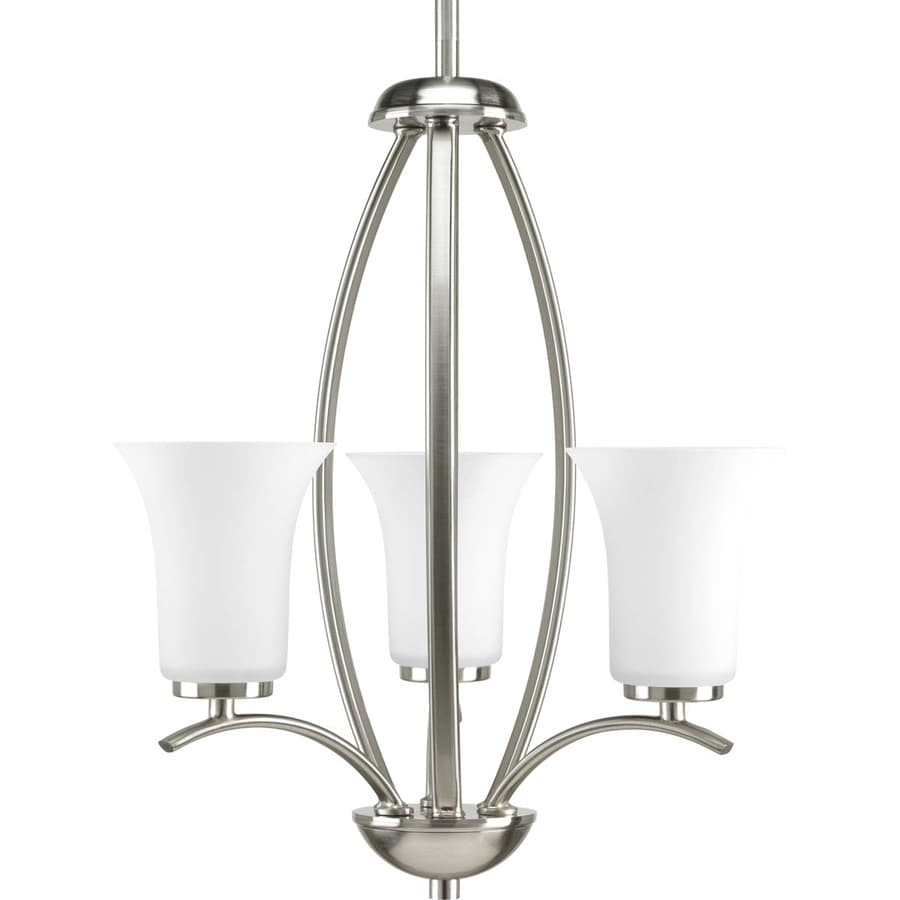Progress Lighting Joy 14.625-in 3-Light Brushed Nickel Etched Glass Shaded Chandelier