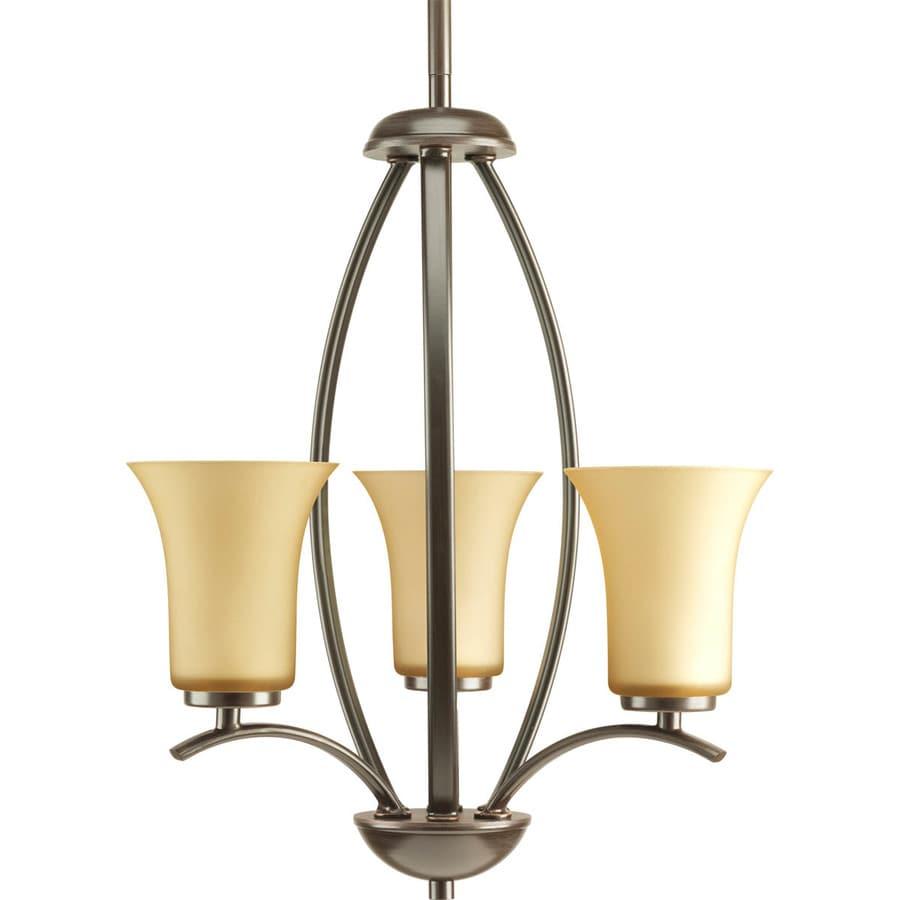 Progress Lighting Joy 14.625-in 3-Light Antique bronze Etched Glass Shaded Chandelier