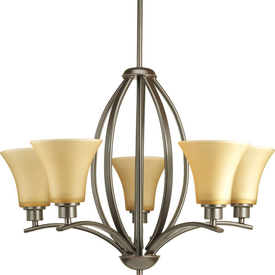 Progress Lighting Joy 24-in 5-Light Antique Bronze Etched Glass Shaded Chandelier