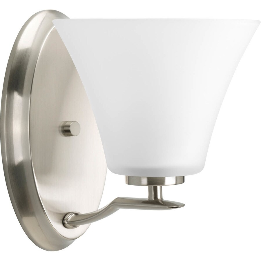Shop Progress Lighting Bravo 1 Light 9 In Brushed Nickel Bell Vanity Light At