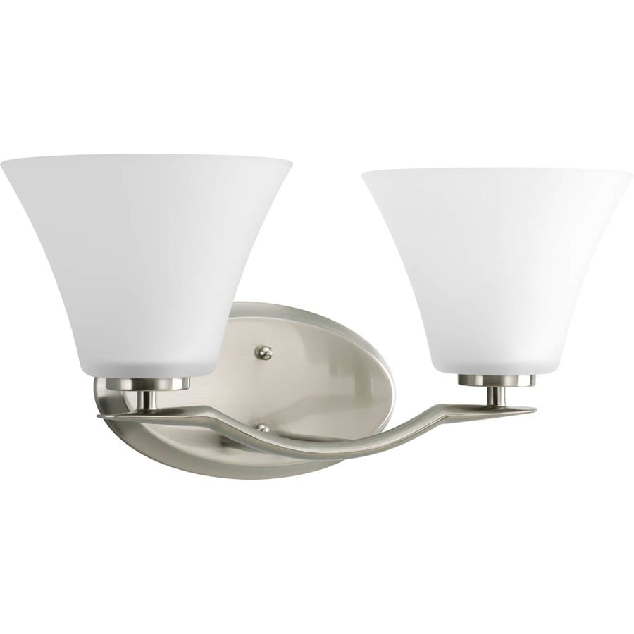 Polished Nickel Bathroom Vanity Light: Progress Lighting Bravo 2-Light 8.5-in Brushed Nickel Bell