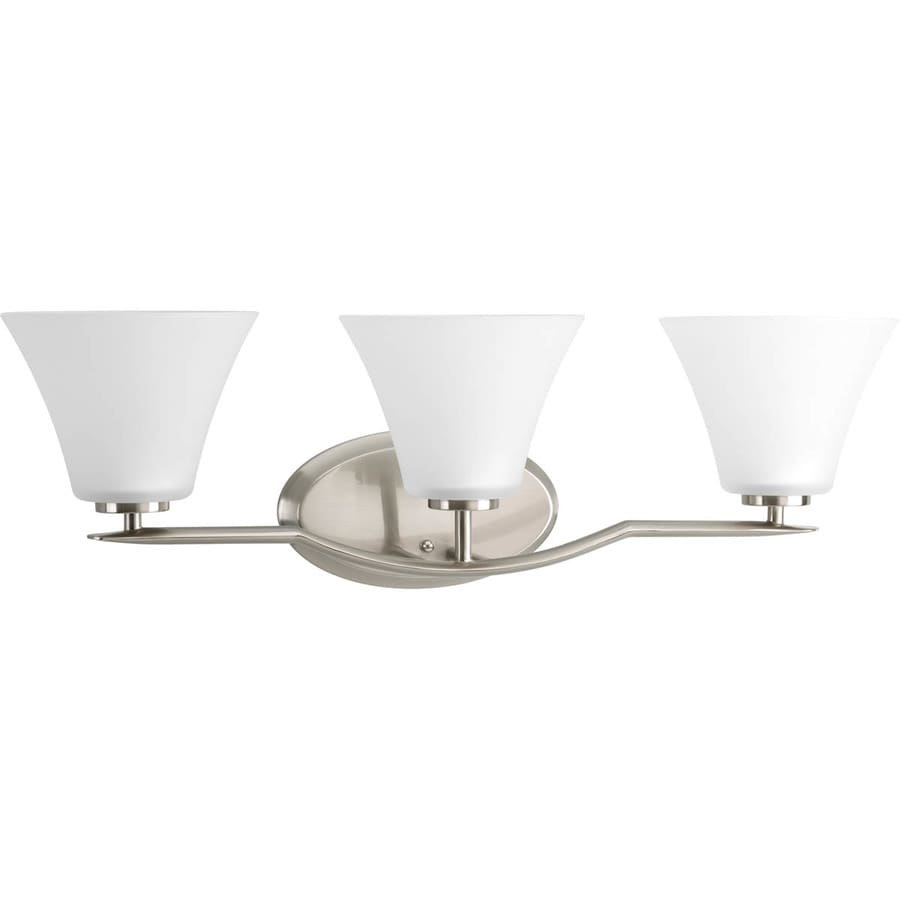 Shop Progress Lighting Bravo 3-Light 8.75-in Brushed Nickel Bell Vanity Light at Lowes.com