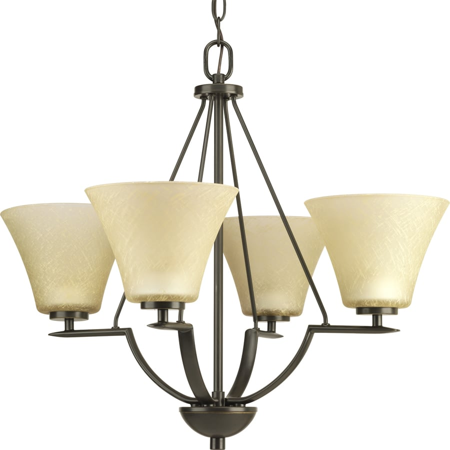 Progress Lighting Bravo 24-in 4-Light Antique Bronze Tinted Glass Shaded Chandelier