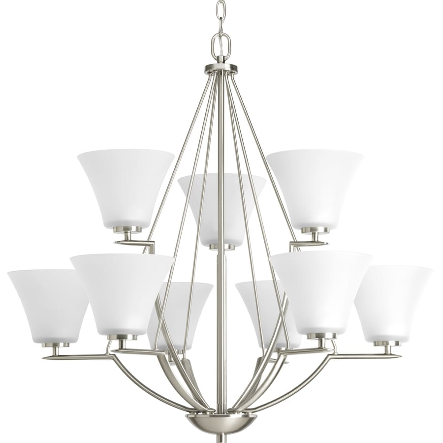 Progress Lighting Bravo 32-in 9-Light Brushed Nickel Etched Glass Shaded Chandelier