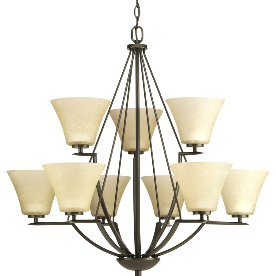 Progress Lighting Bravo 32-in 9-Light Antique Bronze Tinted Glass Shaded Chandelier