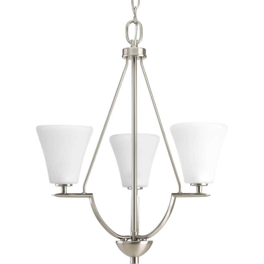 Progress Lighting Bravo 18-in 3-Light Brushed Nickel Etched Glass Shaded Chandelier