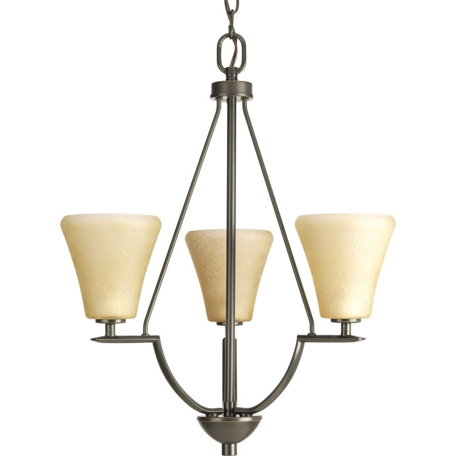 Progress Lighting Bravo 18-in 3-Light Antique Bronze Tinted Glass Shaded Chandelier