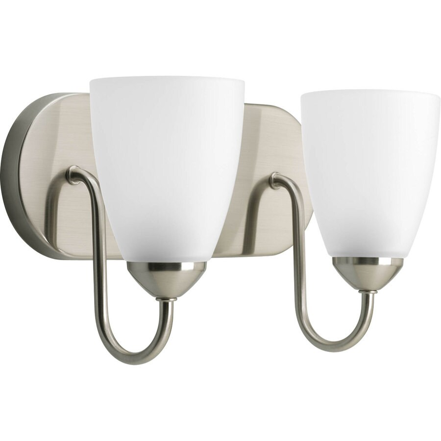 Progress Lighting Gather 2-Light 7.5-in Brushed Nickel Cone Vanity Light