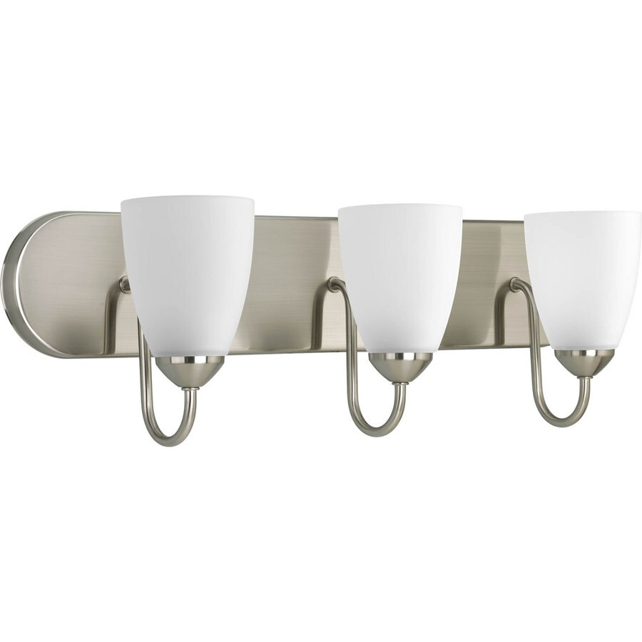 Shop Progress Lighting Gather 3 Light 7 5 In Brushed Nickel Cone Vanity Light