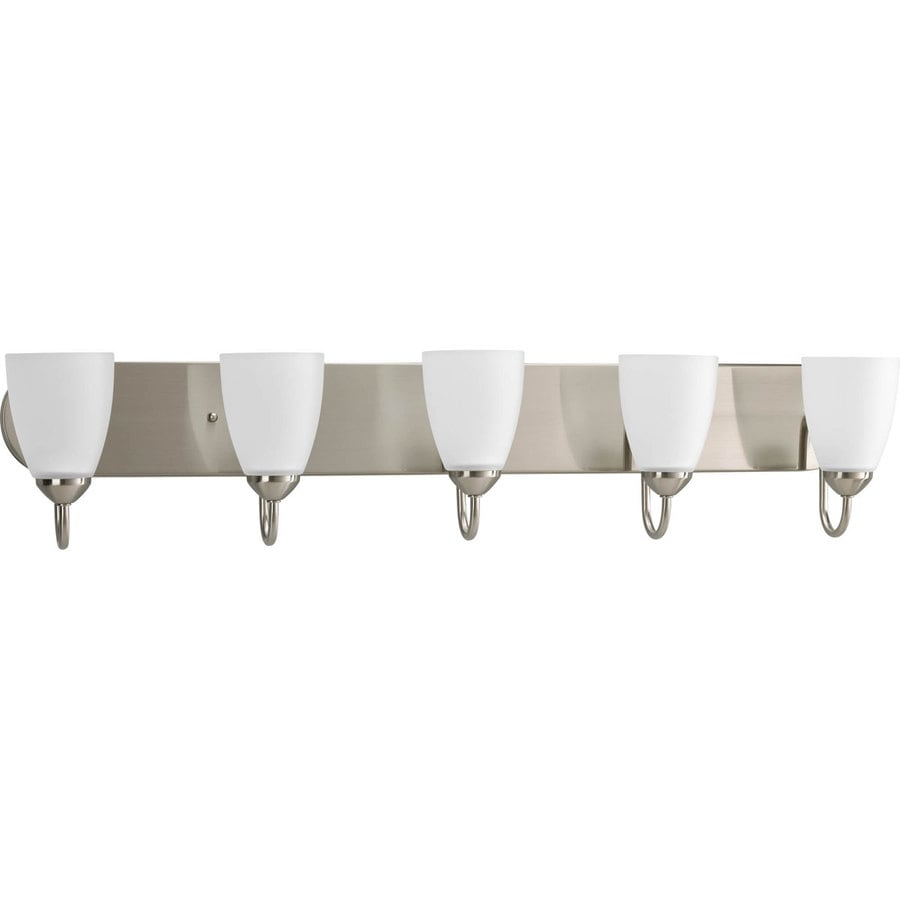 Shop Progress Lighting Gather 5 Light 7 5 In Brushed Nickel Cone Vanity Light At