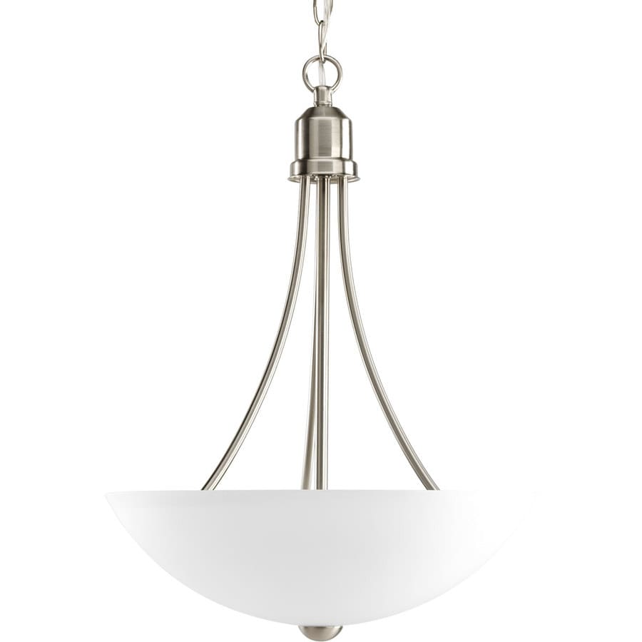 Shop Progress Lighting Gather 15 In 2 Light Brushed Nickel Etched Glass Shade