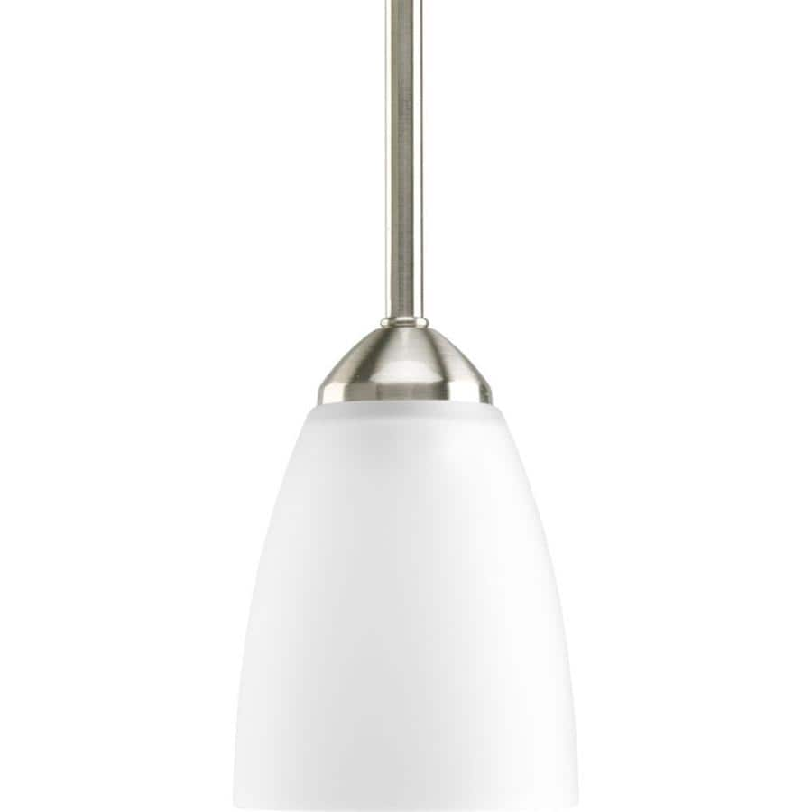 Shop Progress Lighting Gather 4 In Brushed Nickel Mini Etched Glass Cone Pend