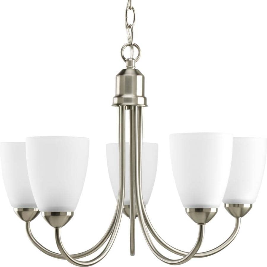 Shop Progress Lighting Gather 20 5 In 5 Light Brushed Nickel Etched Glass Sha