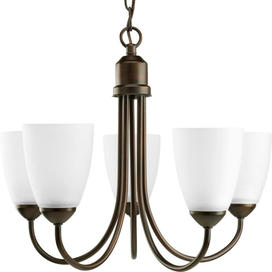 Progress Lighting Gather 20.5-in 5-Light Antique Bronze Etched Glass Shaded Chandelier