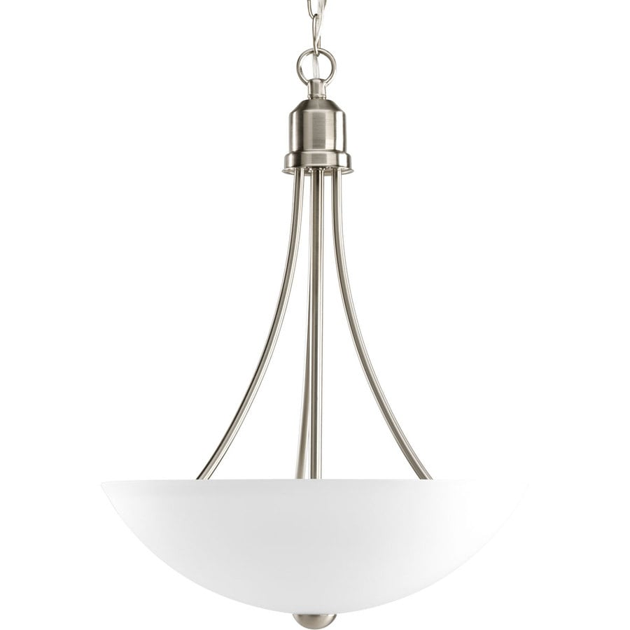 Progress Lighting Gather 15-in 2-Light Brushed Nickel Etched Glass Shaded Chandelier