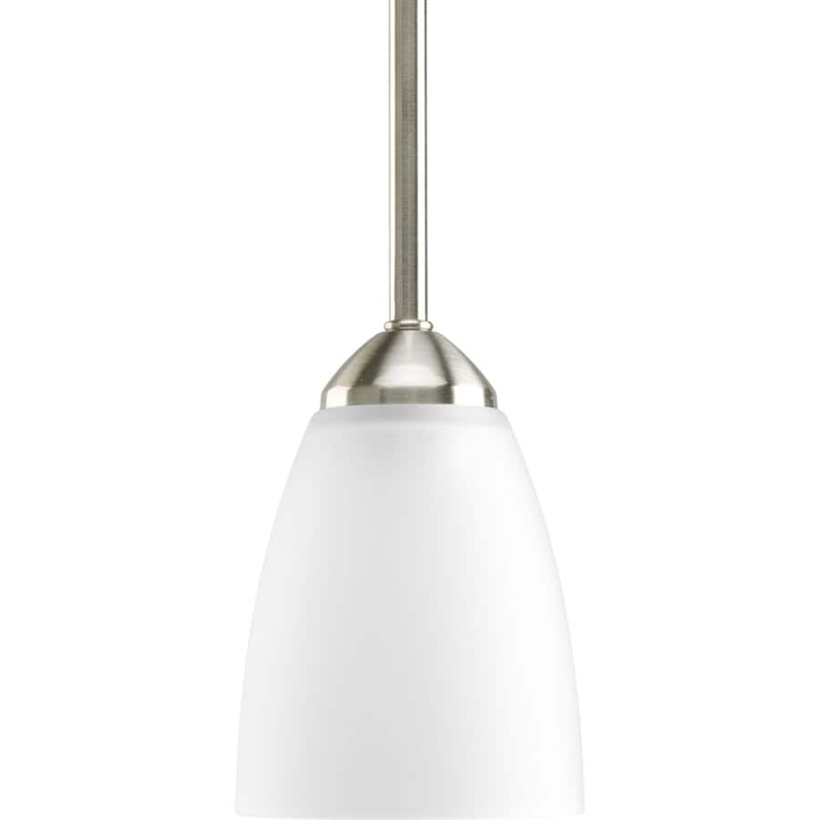 Progress Lighting Gather 4-in Brushed Nickel Mini Etched Glass Cone Pendant