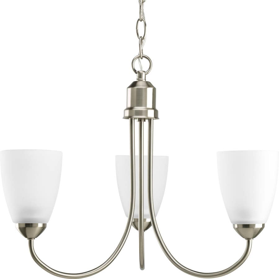 Progress Lighting Gather 18.5-in 3-Light Brushed Nickel Etched Glass Shaded Chandelier