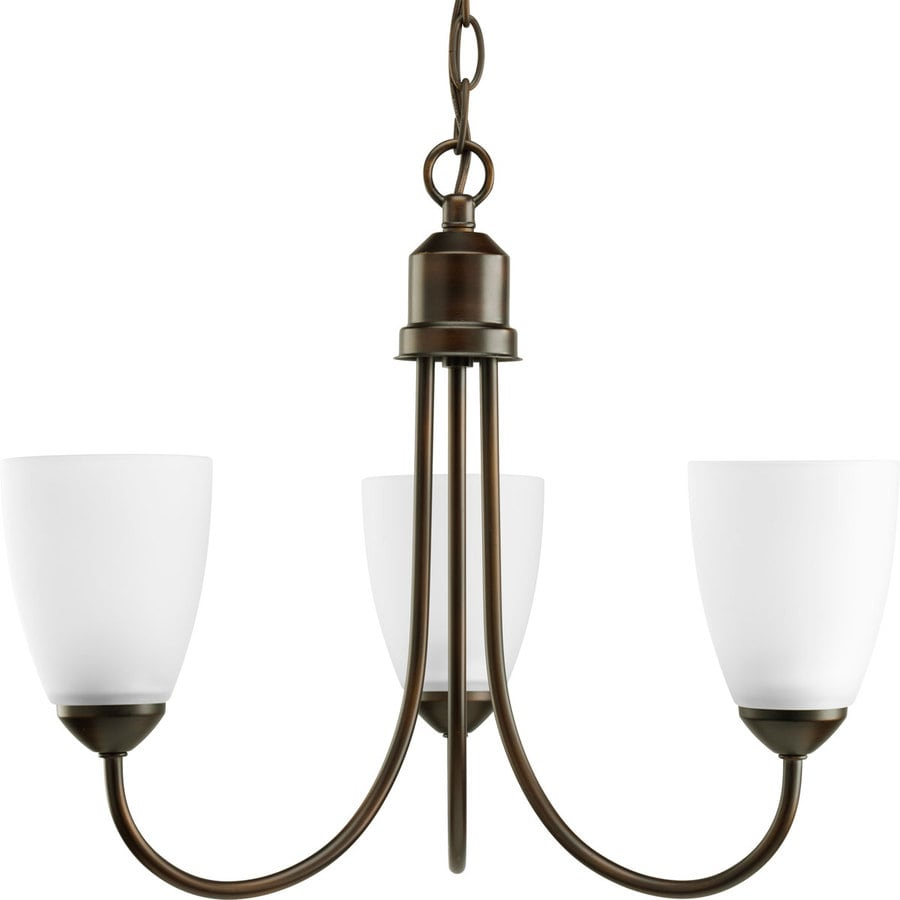 Progress Lighting Gather 18.5-in 3-Light Antique Bronze Etched Glass Shaded Chandelier